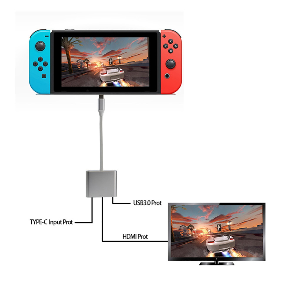 Hot 3 in 1 HDMI, Type-c, USB3.0 Converter For Nintendo Switch Game Console Video Output HDMI projection HD 4K/30fps Video