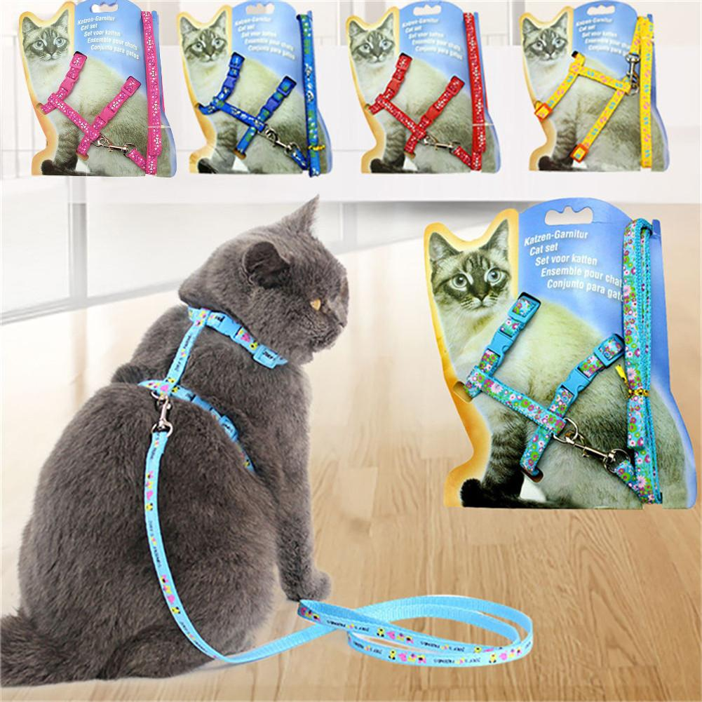1 PC Lovely Floral Print Cat Chest Strap Leashes Printing Cat Traction For Walking The Cat Harness Belt For Cat Dog Puppy