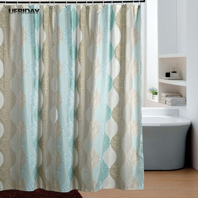 UFRIDAY Retro Novelty Pattern Shower Curtain Thickened Polyester Green Leaf Bath Curtains Screens Mildew