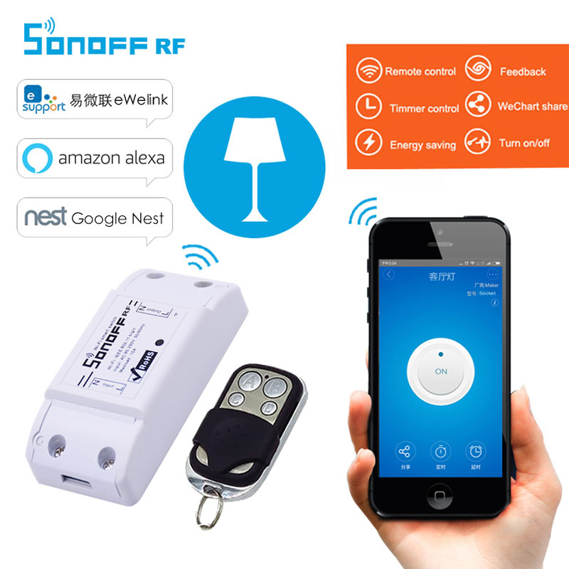 Itead Sonoff RF Wireless Wifi Switch 433mhz RF Receiver Remote Control Diy Timer Smart Switch For Smart Home WiFi Light Switch itead sonoff smart wifi switch diy smart wireless remote switch domotica wifi light switch smart home controller work with alexa