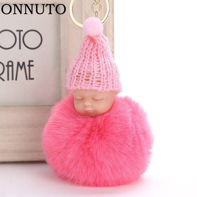 Venda quente Bonito do Sono Do Bebê Boneca Chaveiro Coelho da Pele Do Falso Saco de Chaveiro Carro chaveiro Fofo Pom Pom Mulheres Bugiganga Presente 6C0128