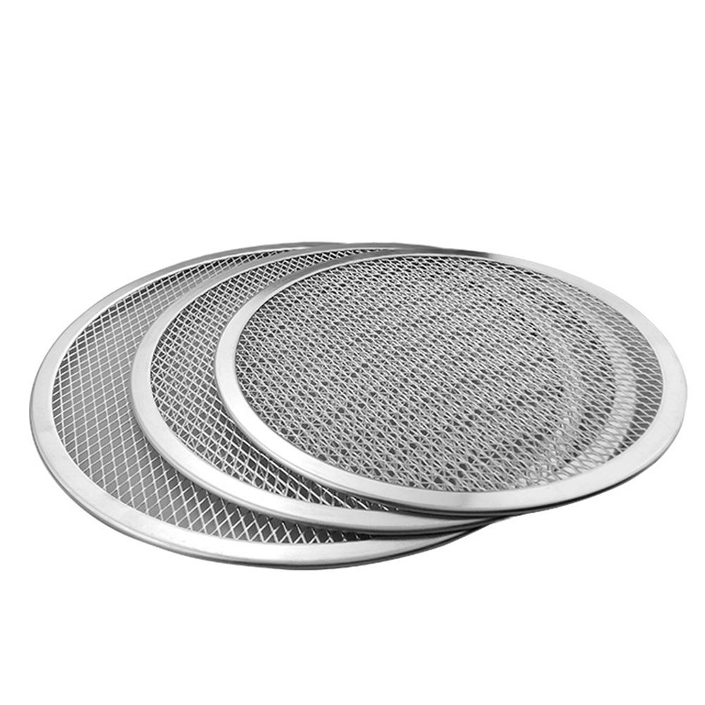 12-22inch New Seamless Aluminum Pizza Screen Baking Tray Metal Net Bakeware Kitchen Tools Silver Not Rust Wholesale