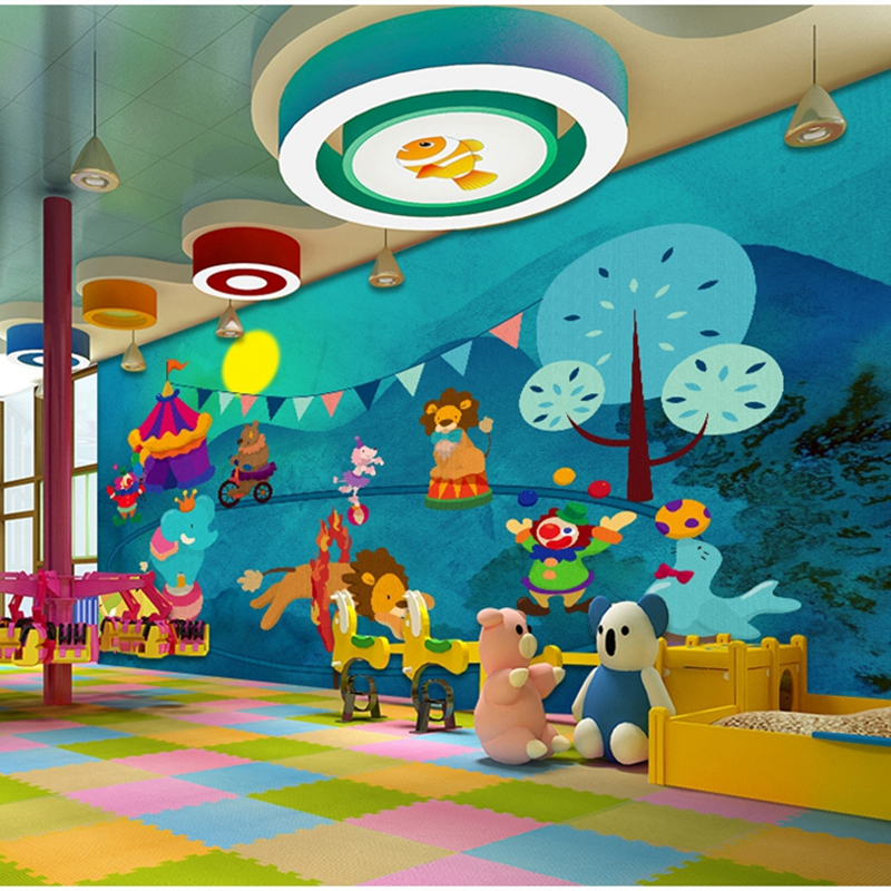 Hand-painted Children Wallpapers 3D Cartoon Animals Fish Mural Photo Wallpapers For Living Room Wall Papers Home Decor Kids Room english wallpaper roll for baby room lovely hand painted wallpapers children wall paper mural non woven wallpapers for boy room