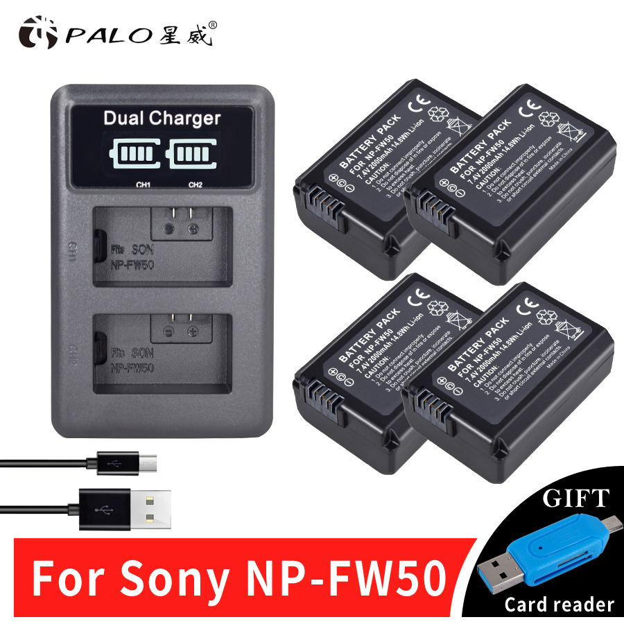 4pc NP-FW50 NPFW50 Camera Battery+LCD USB Dual Charger for Sony A6000 5100 a3000 a35 A55 a7s II alpha 55 alpha 7 A72 A7R Nex7 NE sony alpha a6000 kit
