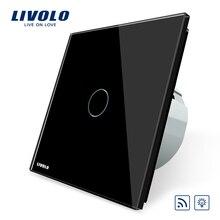 Livolo Estándar de LA UE Interruptor Remoto y Dimmer VL-C701DR-12, Panel negro Crystal Glass, 220 ~ 250 V Interruptor de Pared Light Touch Dimmer Remoto