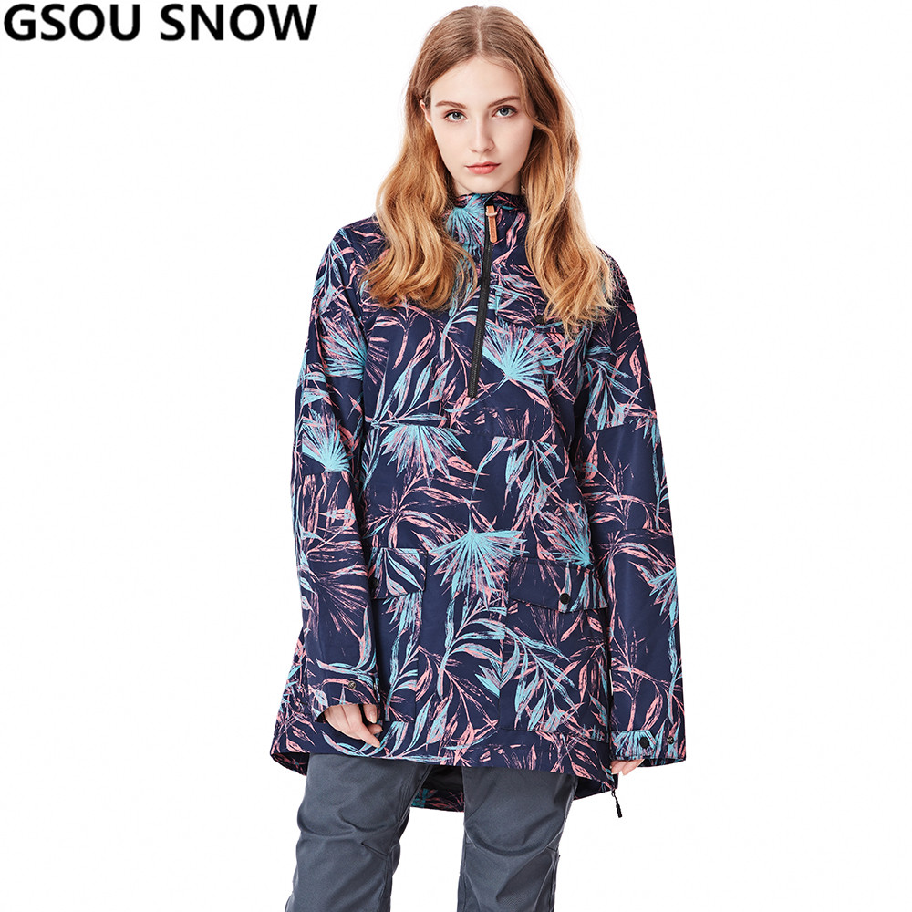 GSOU SNOW  New Ski Jacket Women Anti-pilling Snowboard Coats Waterproof Fashion Windproof Female Ski Jackets Breathable Cotton