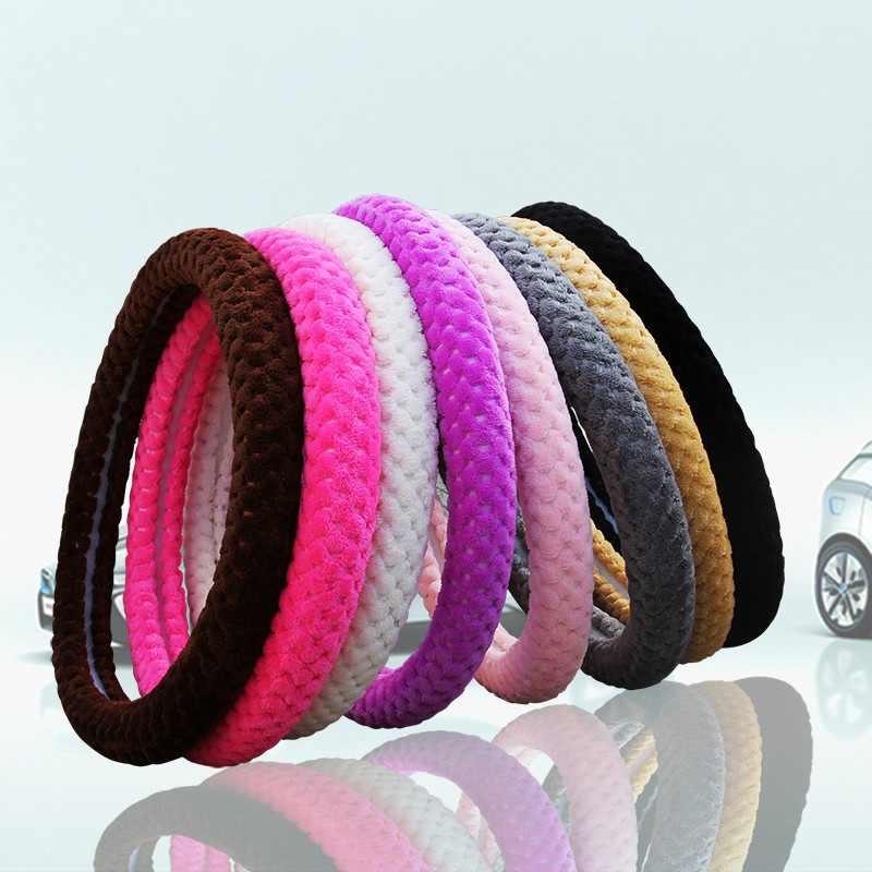 Steeringwheels ssteeringwheels hub اللؤلؤ المخملية الشتاء سيارة غطاء عجلة القيادة/العالمي لينة الدافئة أفخم يغطي لتوجيه XR657