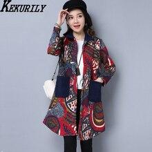 KEKURILY winter women's jacket plus cashmere warm parka female cotton linen coat elegant vintage outerwear floral clothes