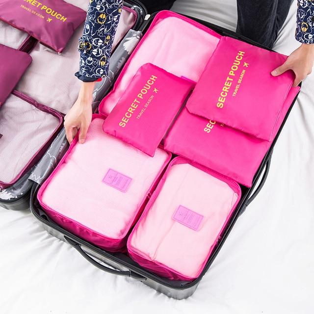 6 pçs/set Nylon Saco de Armazenamento de Viagem Organizador Bagagem de Grande Capacidade bolsa de Viagem À Prova D' Água Roupas Íntimas Sapatos Classificação