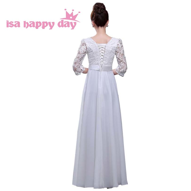 Femmes adultes dames longues occasionnels noir anniversaire robes robe de soirée pour mère de la robe de mariée automne avec manches H2727 - 3