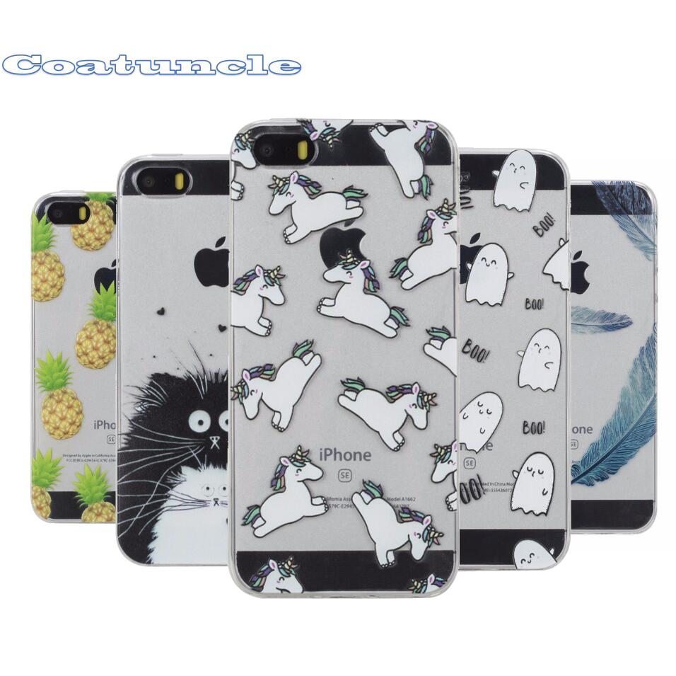 Clear Soft Case sFor Coque Apple iPhone 5 5S SE Cute Pattern Silicone Cover Phone Cases For iPhone5 5G S E