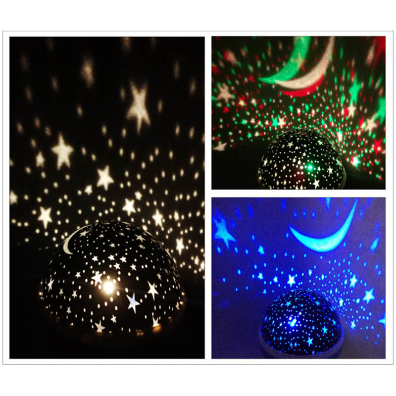Novelty LED Rotating Star Projector Lighting Moon Starry Sky Children Baby Night Sleep Light Battery Emergency Projection Lamp 6