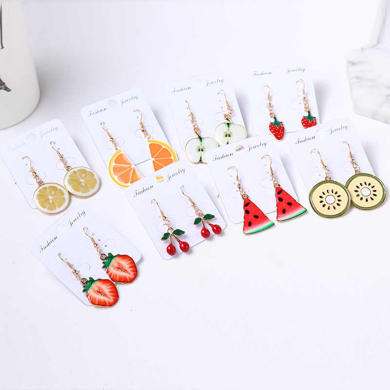 Suki Enamel Lucu Indah Drop Anting-Anting Strawberry Pine Apple Cherry Kiwi Orange Apple Fruit Charm Penadant Anting-Anting Cantik Hadiah