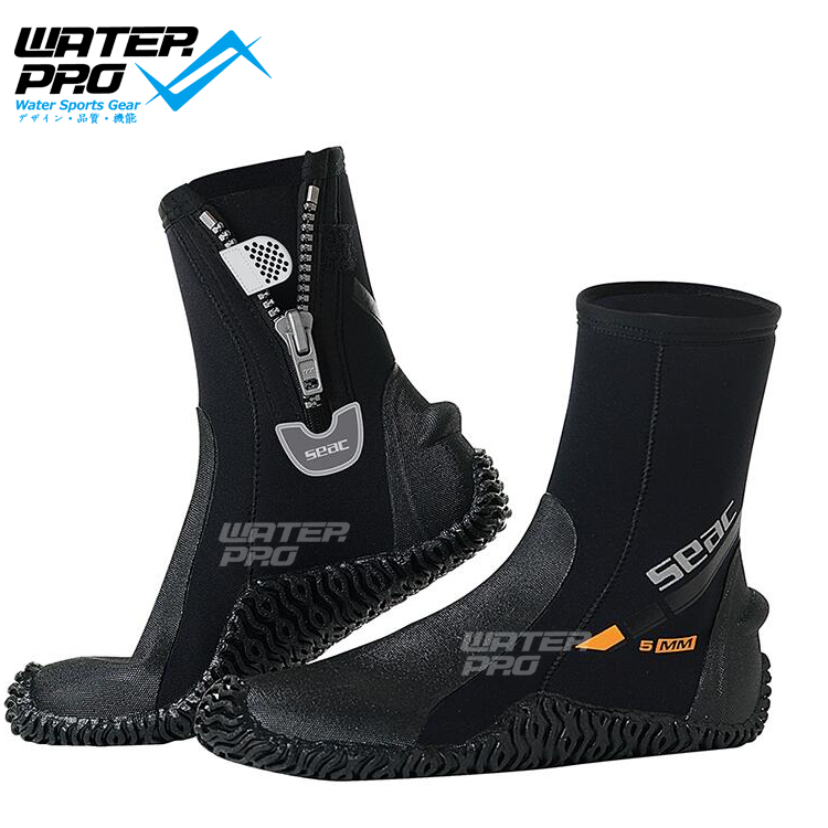 Seac Sub Basic HD 5mm Neoprene Scuba Boots with Side Zipper seac sub sting spear gun with sling aluminum finish