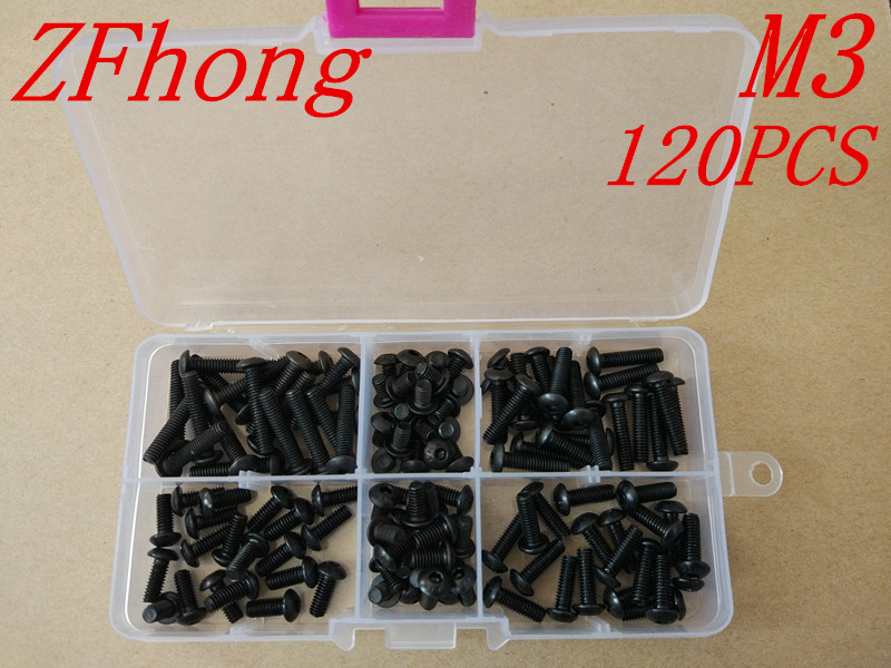 120PCS ISO7380 Grade10.9 M3*6/8/10/12/16/20 Black Button Head Hex Socket Screw kits 7380 fan7380 sop 8