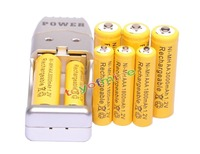 4 4 X AA AAA 1800mAh 3000mAh Rechargeable Battery 1 2V Yellow USB Charger