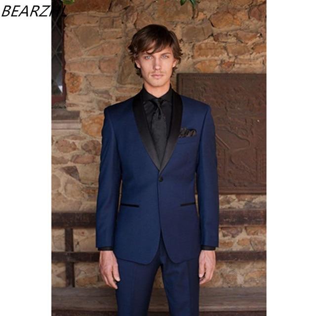 beach wedding suits blue groom tuxedo slim fit modern 2017 custom ...