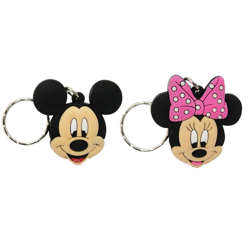 Hot 40pcs Mickey Minnie Cartoon PVC Soft Charms+ Keychain Keyrings Kid Gift Party Favors Key Covers Bag Straps Decor Accessories