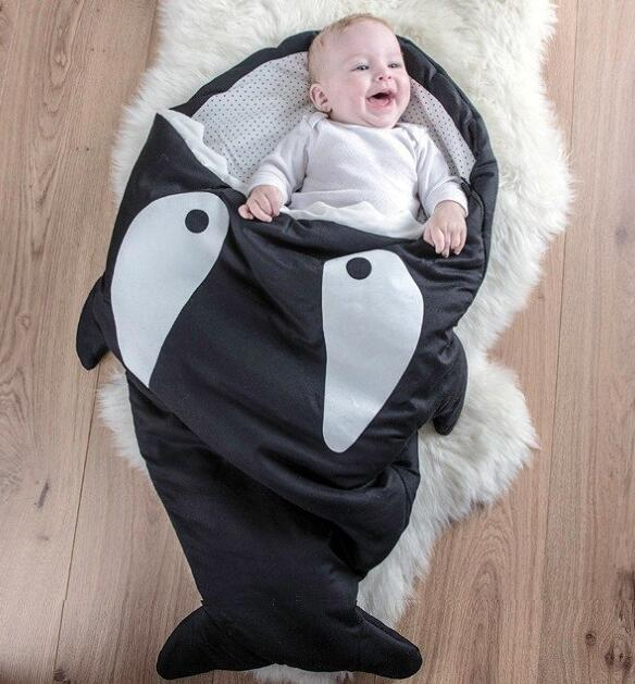 2017 hot sales baby thicken cotton shark sleep bag kids inter stroller bed swaddle blanket wrap bedding quilt