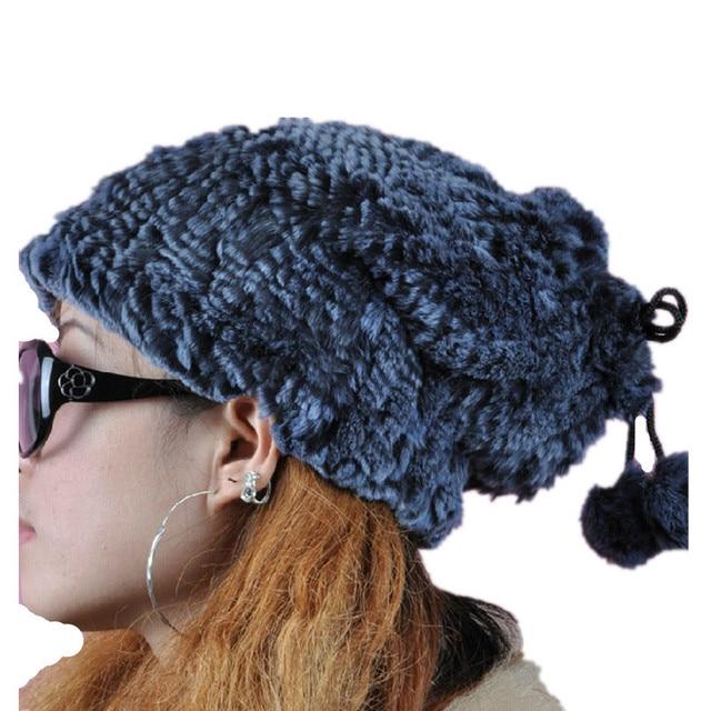 h346- женская мода осень зима сладкий ручной связанный рекс кролика теплый шарф, меховая шапка с помпоном,кепка для женщин