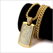 5pcs wholesale New arrvial fashion statement necklaces & pendants Men Jewelry Smooth Army Card Pendant With Full Of Rhinestone