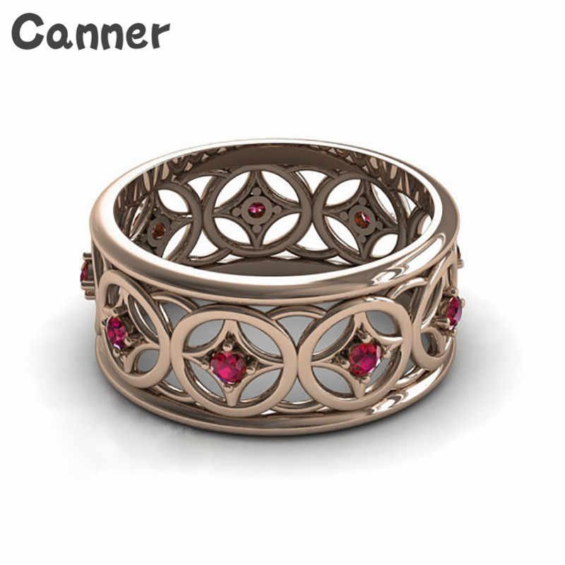 Canner Hợp Thời Trang Chất Lượng Tốt Màu Đỏ Zircon Wedding Rings Đối Với Phụ Nữ Vintage Vòng Pha Lê Nhẫn Đính Hôn Đồ Trang Sức