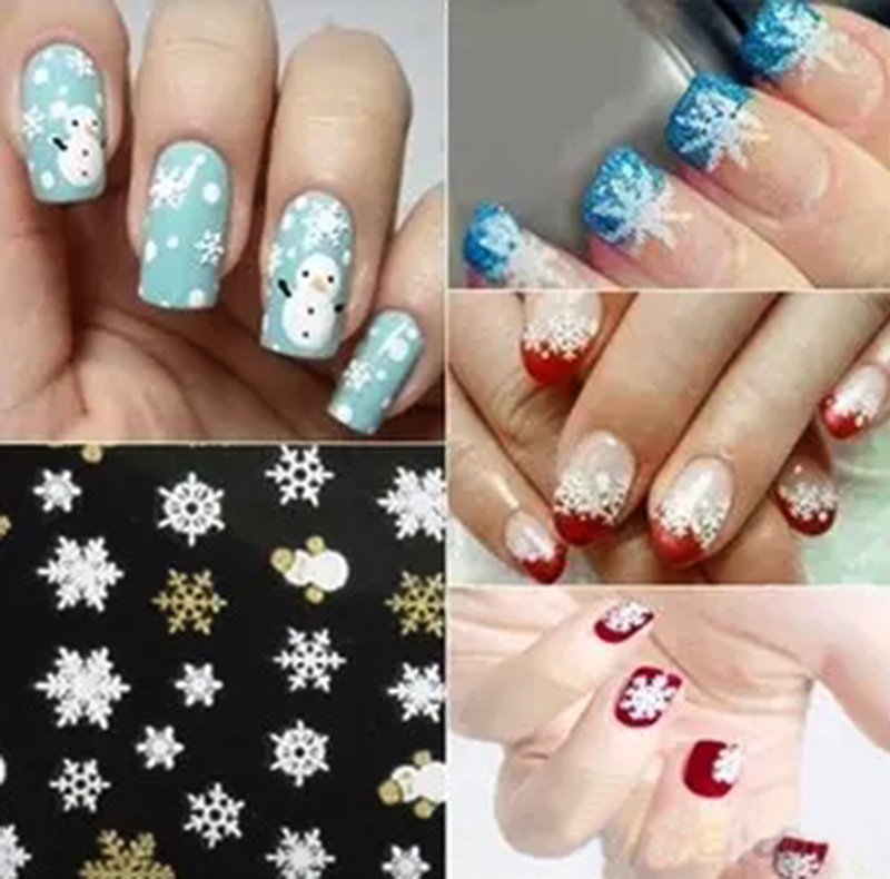 2018 New 3d Nail Art Tips Christmas Snowman Snowflakes Design Decals