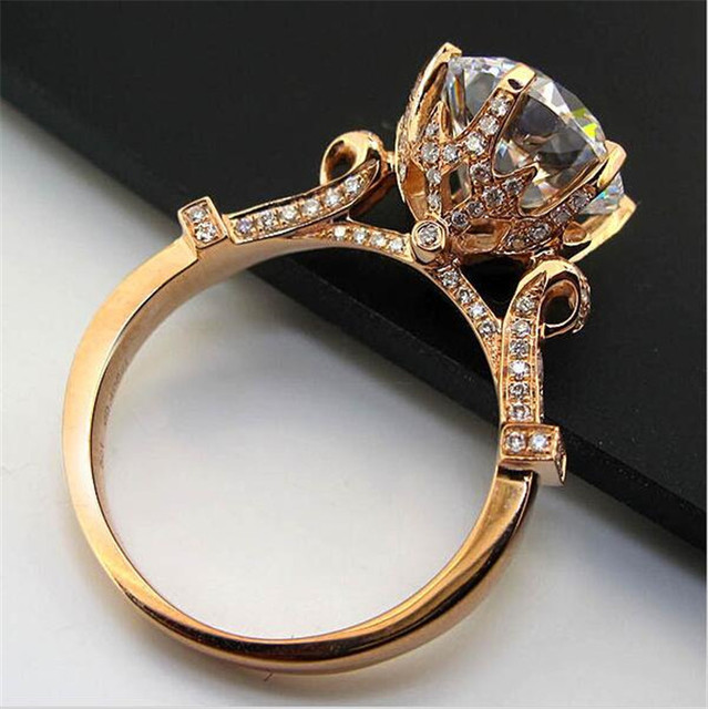 9f42aa88728fb0 Women Gift Silver&rose gold filled Jewelry Brand Engagement Wedding Rings  Flower Crown Design CZ Level Stone