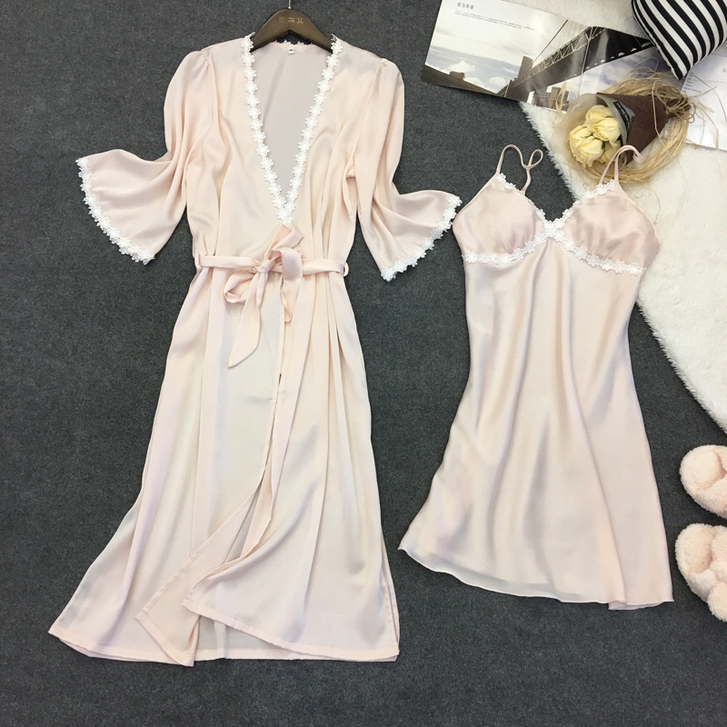 QWEEK Women Robes Gown Sets Sexy Lace Satin Sleepwear Pajamas Nightwear Silk Night Skirts Home Clothing with Chest Pads