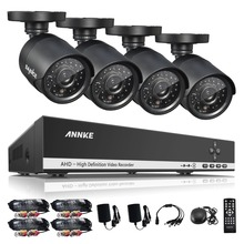 ANNKE 4CH 720P AHD DVR Video 4 PCS 1200TVL CCTV Home Security Cameras 720P HD Outdoor IR Night Vision Surveillance System Kit