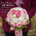 2017 Bridal Bridesmaid Wedding Bouquet Cheap New Pink&Ivory Handmade Artificial Wedding Flowers Peony Bridal Bouquets