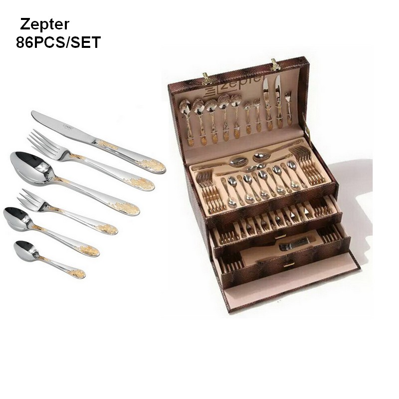 TOP 86pcs STAINLESS STEEL tableware SETS Gold Plated Cutlery Set Dinnerware Tableware Silverware Knife Fork With Gift Box