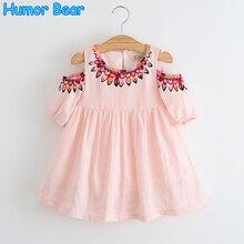 Humor Bear Princess Dress 2017 New summer Style Sleeveless Striped Printing Design Kids Dress Children clothing Girls Dress