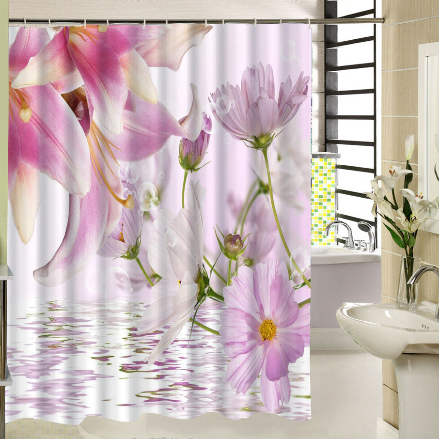 Polyester Fabric Shower Curtain Pink Floral Pattern 3d Print Bathroom Curtain For Home Decor