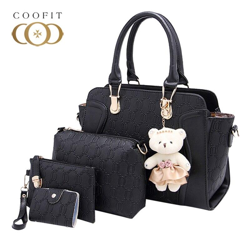 Coofit Women's Luxury PU 4 Piece Composite Bags Card Holder Set With Bear Pendant sac a main femme de marque luxe cuir 2017 coofit luxury composite bag set women