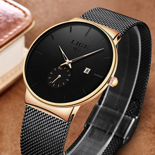 LIGE New Mesh Steel Men Watches Top Brand Luxury Ultra-thin Waterproof Quartz Watch Men Casual Sport Quartz Clock Relojes Hombre dom men watches top brand luxury quartz watch casual quartz watch black leather mesh strap ultra thin fashion clock male relojes