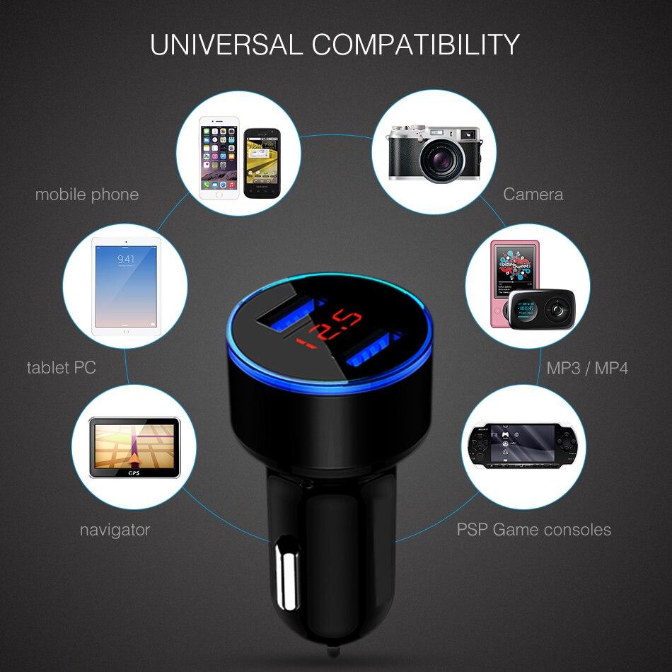 Dual Usb Car Phone Charger 5V 3.1A Digital Display Car Charger Aluminum Alloy