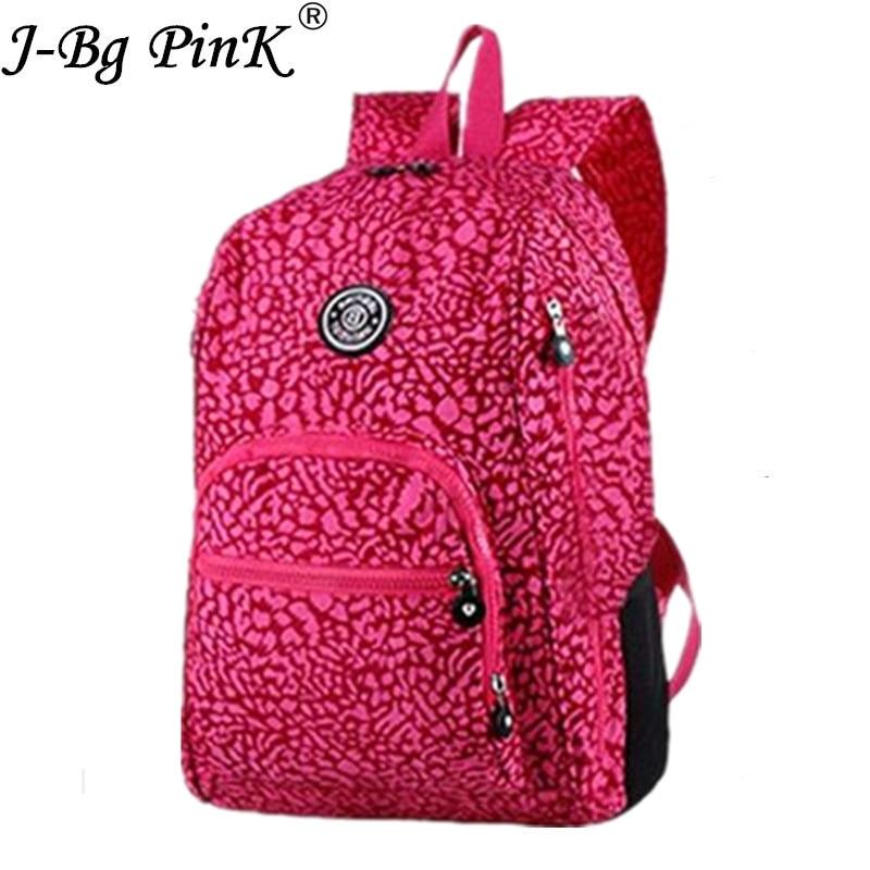J-BG PinK School Backpack for Teenage Girl Mochila Feminina Women Backpacks Nylon Waterproof Casual Laptop Bagpack Female Sac A