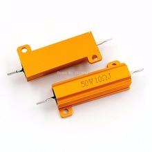 RX24 50W 10R 10RJ Metal Aluminum Case High Power Resistor Golden Metal Shell Case Heatsink Resistance Resistor 10 ohm 50w