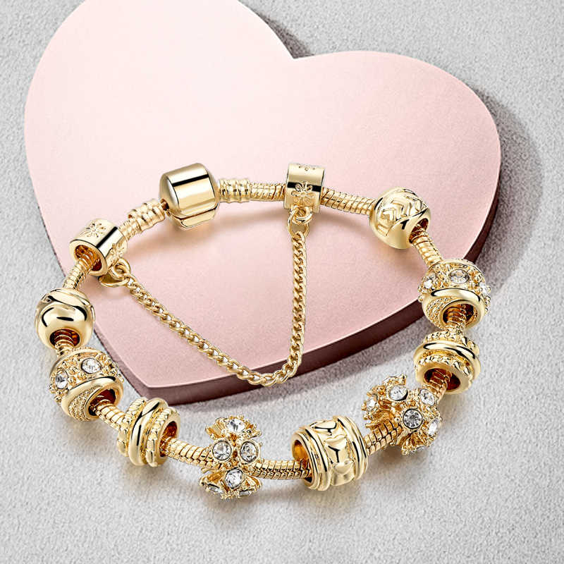e9dfc82b CHICVIE Handmade European & American Charm Custom Bracelets & Bangles Gold  color Crystal Bracelets For Women Jewelry SBR160241
