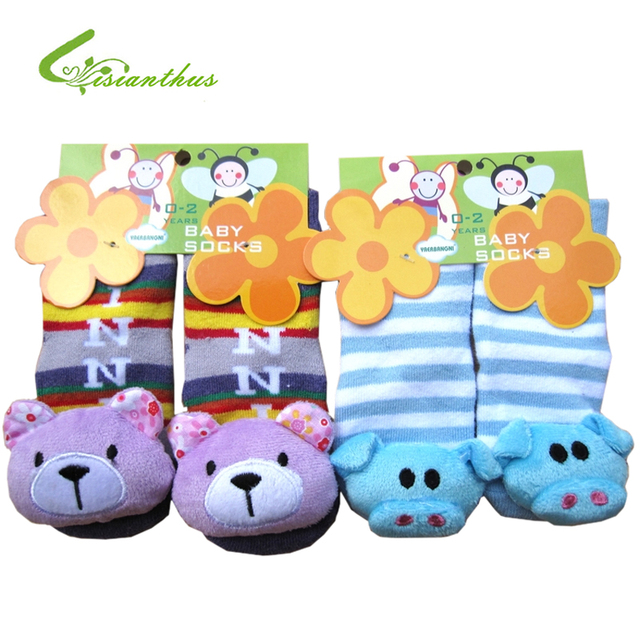 6 pairs/ lot New style Baby Anti-slip Walking Socks Children's Cute Cartoon Fashion Baby Cotton Sock Kids Gift Free Shipping