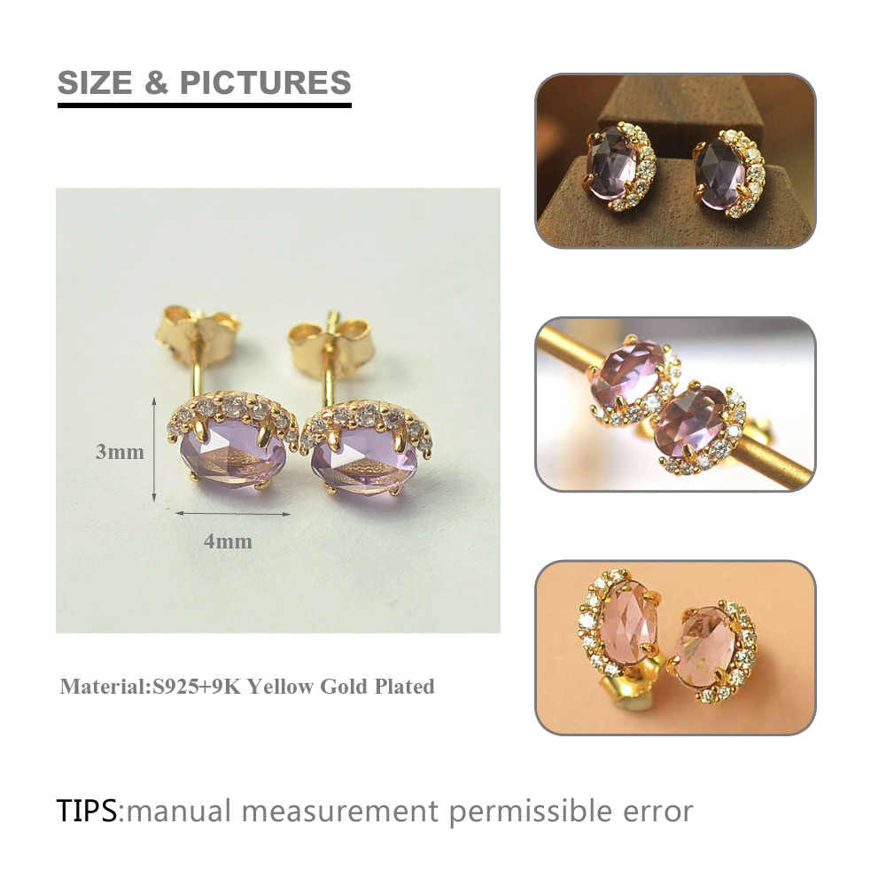 7e14656ba ... SA SILVERAGE 925 Sterling Silver Natural Amethyst Stud Earring for  Woman AAA Zirconia 9K Yellow Gold