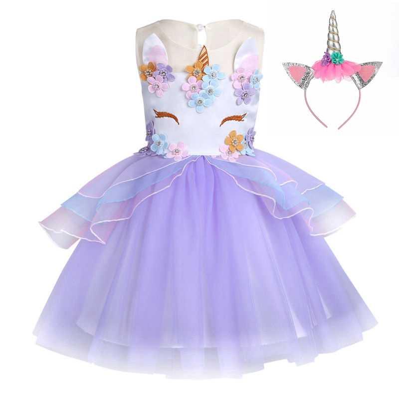 cd58bc2cff3 ... Необычные дети Единорог Платье с фатиновой юбкой для обувь девочек  вышитая бальное платье Детские платья принцессы ...