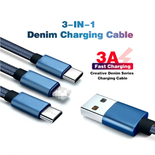 3 In 1 Fast Charger Cable for Huawei Phones Type C USB IPhone Usb Micro 3A Denim Cord