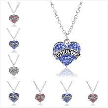 9b64368dec94 QIHE joyería rosa azul blanco diamante de imitación cristal corazón encanto  collar maestro enfermera hija abuela TIA familia joy.