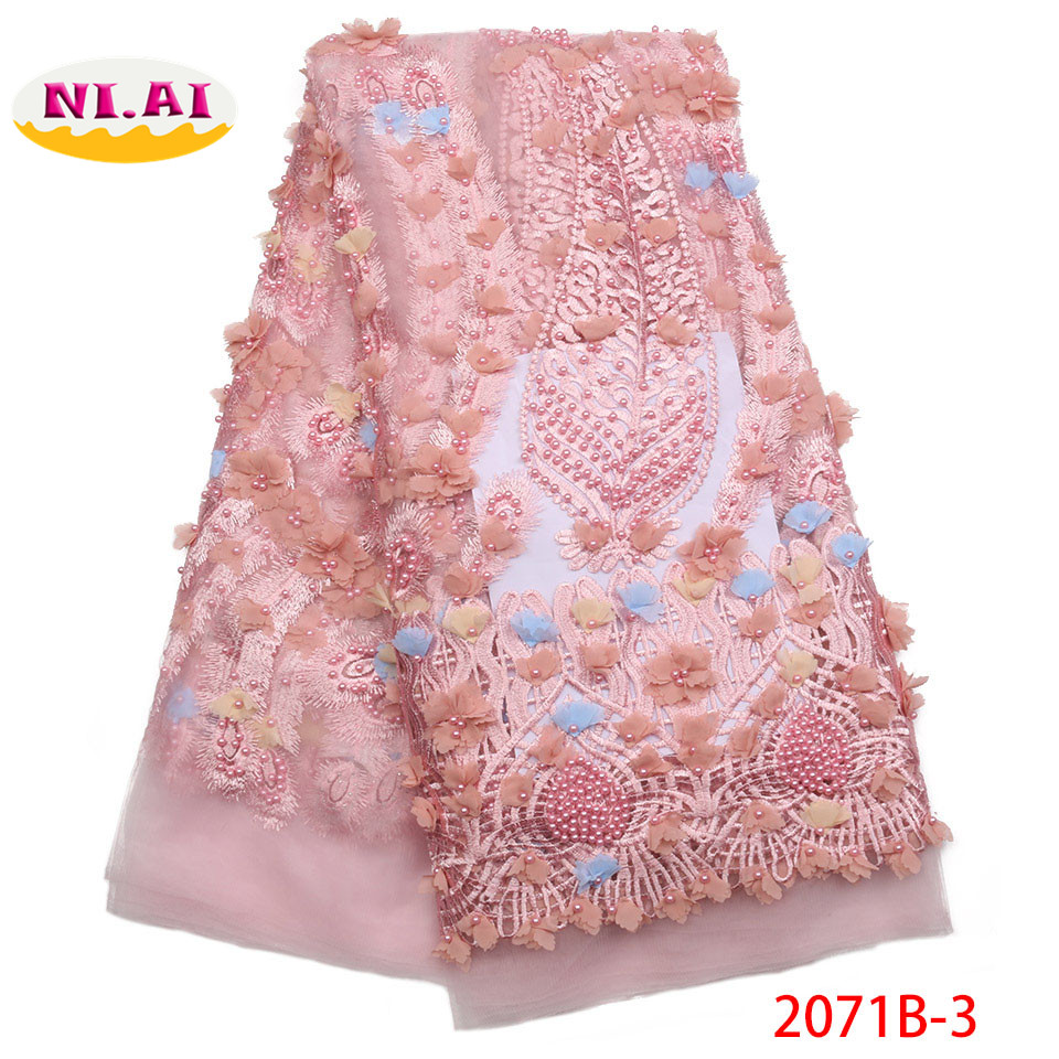 2018 3D Lace Fabric African Lace Fabric 2018 High Quality Pink French Beaded Lace Fabric Lace