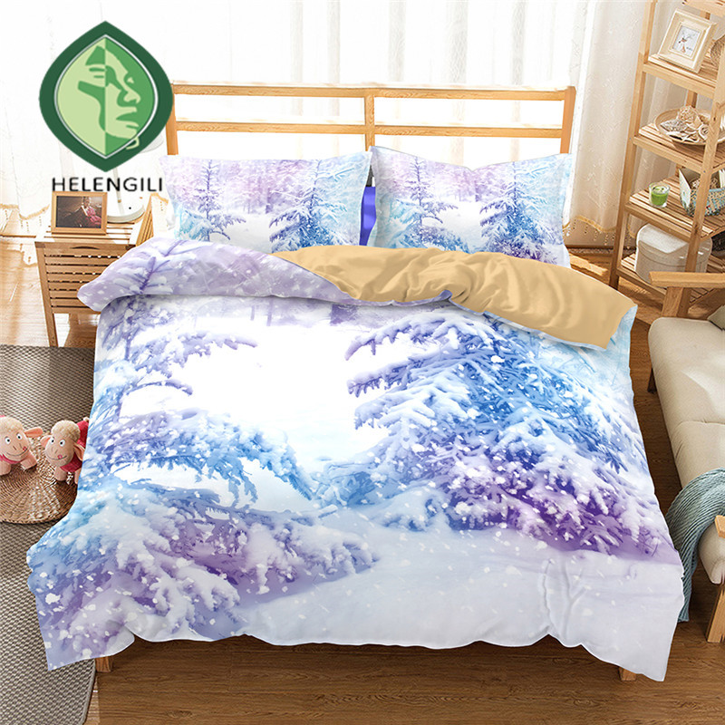 3D Bedding Set Forest snow scenery Print Duvet cover set lifelike bedclothes with pillowcase bed set home Textiles #2-023D Bedding Set Forest snow scenery Print Duvet cover set lifelike bedclothes with pillowcase bed set home Textiles #2-02