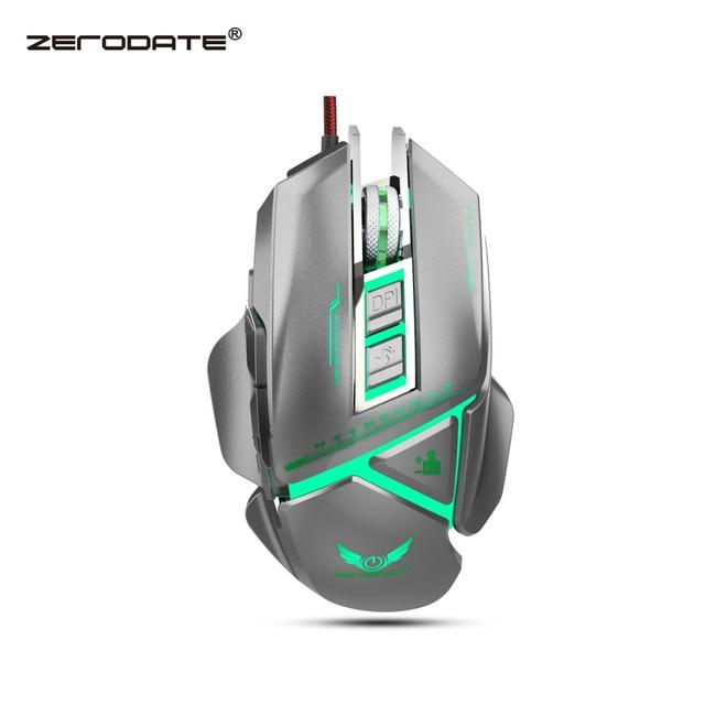 ZERODATE 11 programável botão USB wired optical mouse 3200 dpi cor backlight mechanical macro definição jogo do rato jogo para PC