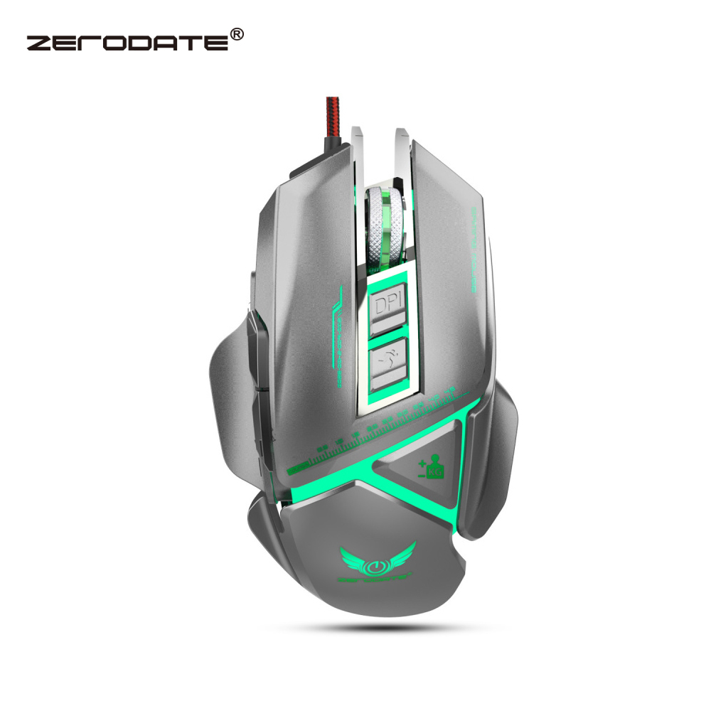 ZERODATE 11 programmable button USB wired optical mouse 3200DPI color backlight mechanical macro definition game mouse game PC-in Mice from Computer & Office