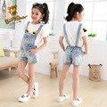 2pc Children's clothing female child set child denim suspenders shorts 2016 summer short sleeve baby T-shirt+ Denim shorts